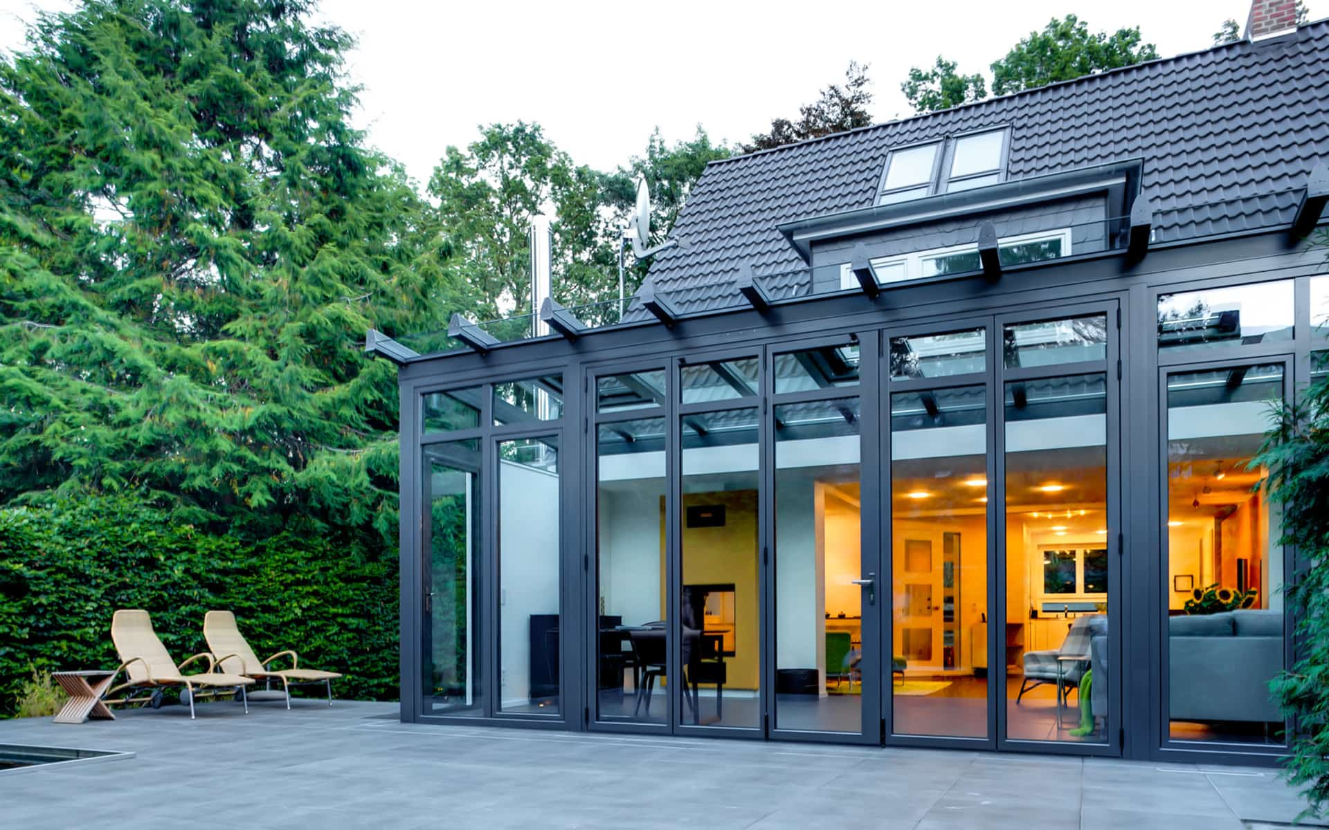 Flachdach-Wintergarten mit Aluminiumprofil